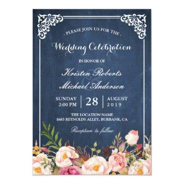 Small Wedding Celebration Pink Floral Blue Chalkboard Front View
