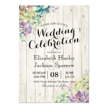 wedding celebration succulent plants rustic wood invitations