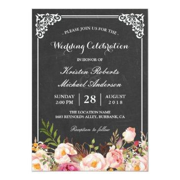 Small Wedding Celebration Vintage Pink Floral Chalkboard Front View