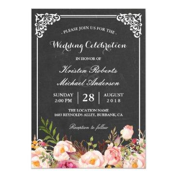 wedding celebration vintage pink floral chalkboard