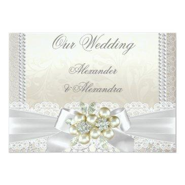 Small Wedding Cream White Pearl Lace Damask Diamond Front View