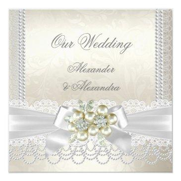 Small Wedding Cream White Pearl Lace Damask Diamond Invitationss Front View