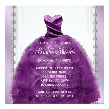 Small Wedding Dress And Pearls Plum Purple Bridal Shower Front View