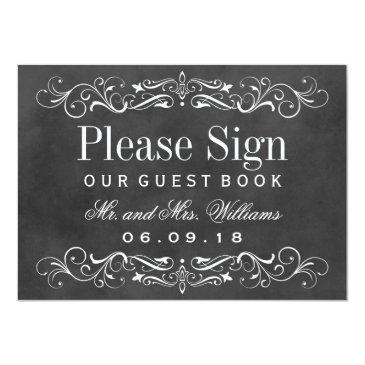 Small Wedding Guest Book Sign | Chalkboard Flourish Invitation Front View