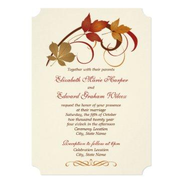 wedding invitations | autumn fall leaves