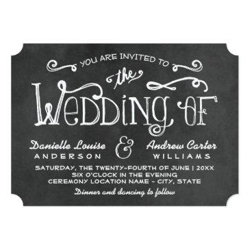 Small Wedding Invitation | Black Chalkboard Charm Front View