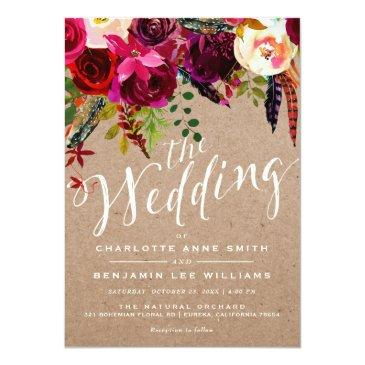 Small Wedding Invitation | Elegant Floral Rustic Boho Front View