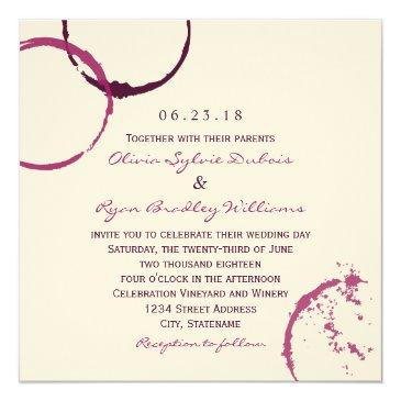Small Wedding Invitations | Wine Stain Rings Front View