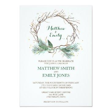 wedding invitations winter wreath