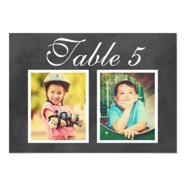Small Wedding Photo Table Number | Black Chalkboard Front View
