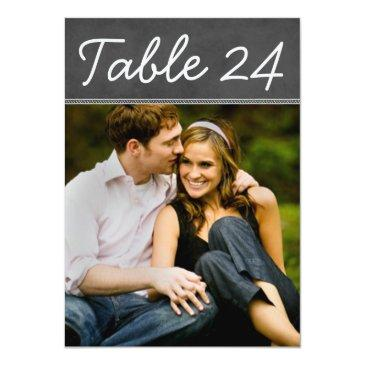 Small Wedding Photo Table Number Cards | Chalkboard Front View