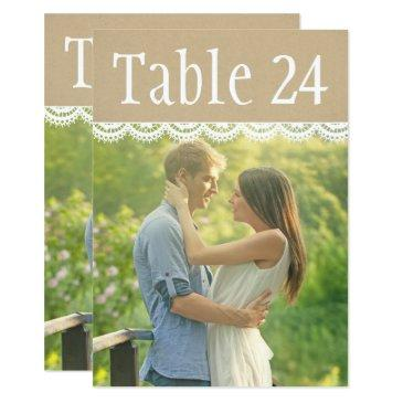 wedding photo table number cards | lace and kraft