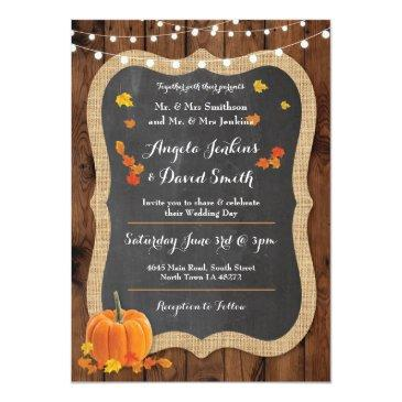 Small Wedding Pumpkin Fall Wood Chalk Party Invitations Front View