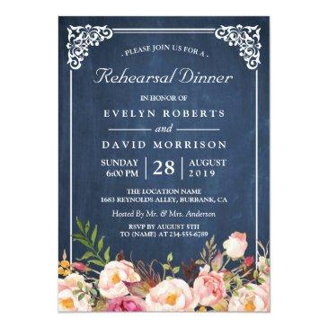 Small Wedding Rehearsal Dinner Floral Blue Chalkboard Invitation Front View