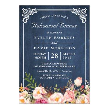 wedding rehearsal dinner floral blue chalkboard