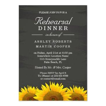 Small Wedding Rehearsal Dinner Sunflowers Chalkboard Front View