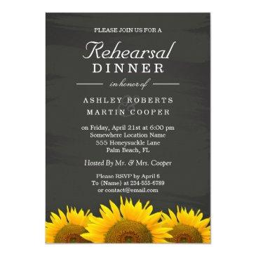 wedding rehearsal dinner sunflowers chalkboard