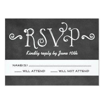 Small Wedding Rsvp Invitation | Black Chalkboard Charm Front View
