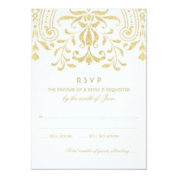 Small Wedding Rsvp  | Gold Vintage Glamour Front View
