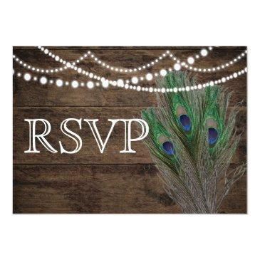 wedding rustic wood peacock feathers rsvp