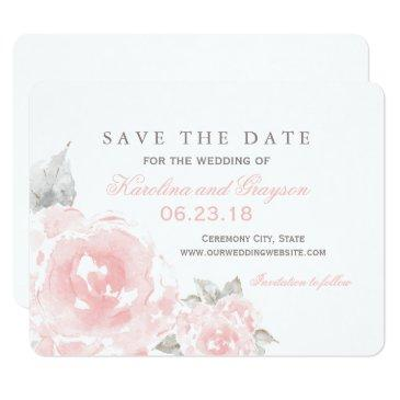 wedding save the date  | pink watercolor roses