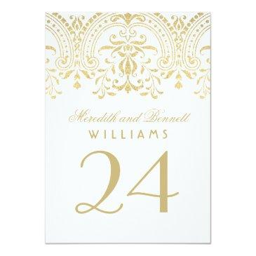 Small Wedding Table Number Cards | Gold Vintage Glamour Front View