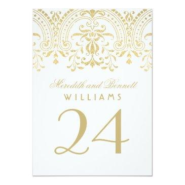 Small Wedding Table Number Cards | Gold Vintage Glamour Back View