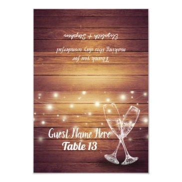 wedding table number escort champagne glasses wood