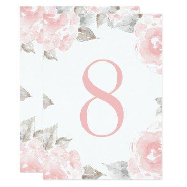 wedding table number | pink watercolor roses
