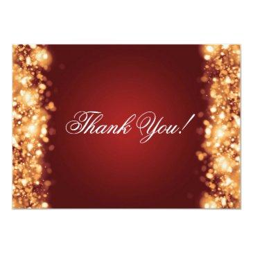 wedding thank you note sparkling lights gold