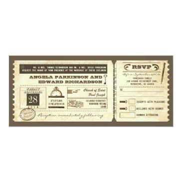 wedding vintage ticket  with rsvp design
