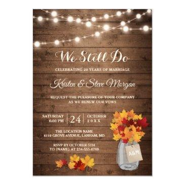 wedding vow renewal | rustic autumn fall leaves invitation