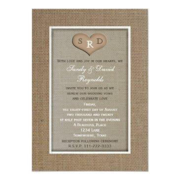 wedding vow renewal rustic burlap frame with heart