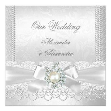 Small Wedding White Pearl Lace Damask Diamond Silver Front View