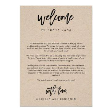 welcome letter and itinerary wedding welcome bag