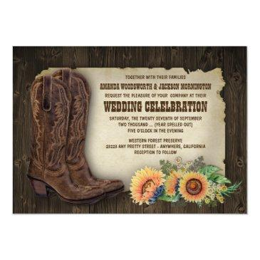western cowboy boots sunflower wedding invitationss