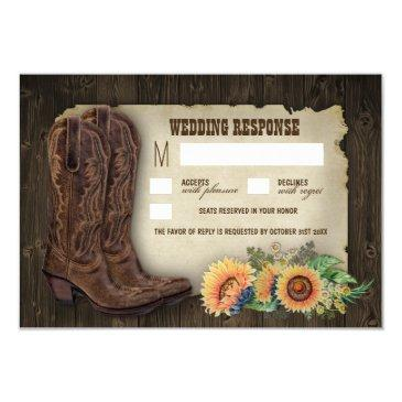 western cowboy boots sunflower wedding rsvp