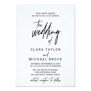 whimsical calligraphy | cocktail reception wedding invitation