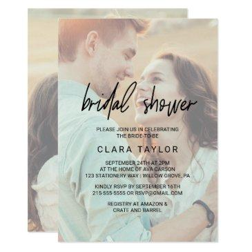 whimsical calligraphy | faded photo bridal shower
