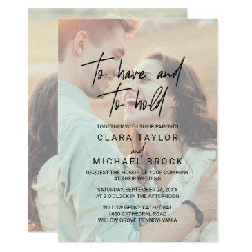whimsical calligraphy | faded photo hold wedding invitation