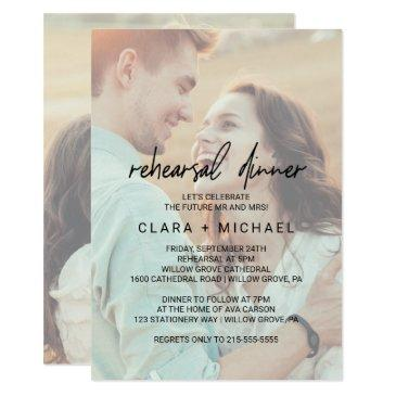 whimsical calligraphy faded photo rehearsal dinner