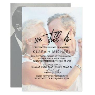 whimsical calligraphy | faded photo vow renewal invitation