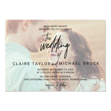 Small Whimsical Calligraphy | Horizontal Photo Wedding Invitation Front View