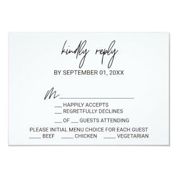 whimsical calligraphy menu choice rsvp