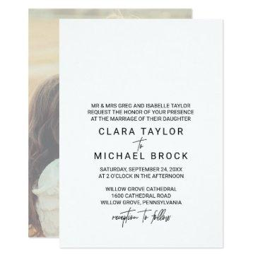 whimsical calligraphy | photo back formal wedding invitation
