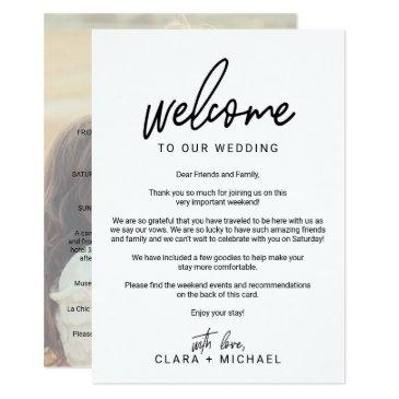 whimsical calligraphy photo wedding welcome letter