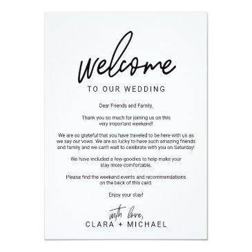 whimsical calligraphy wedding welcome letter