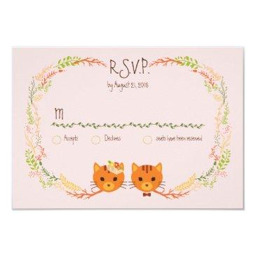 whimsical forest cats (blush) wedding rsvp