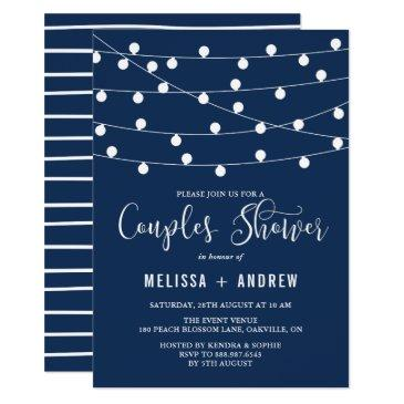 whimsical string lights navy blue couples shower