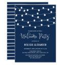 whimsical string lights navy blue welcome party invitation